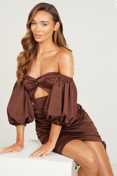 Brown Satin Bardot Bodycon Dress